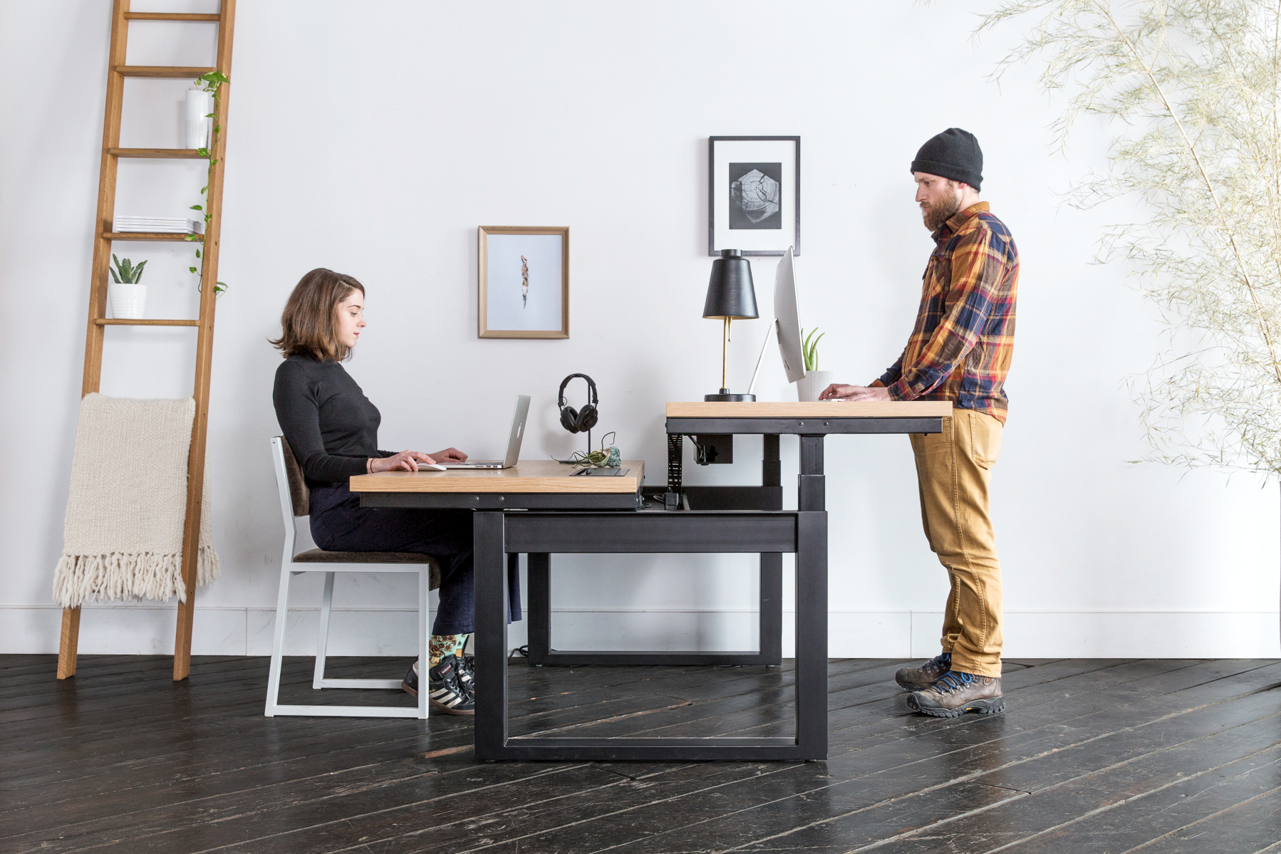 This Dual Workstation By Uhuru Lets You Stand Or Sit As Work